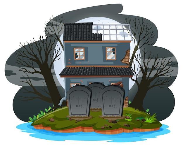 Casa abandonada de halloween en la noche