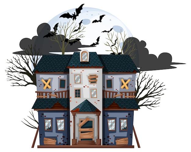 Casa abandonada de halloween sobre fondo blanco