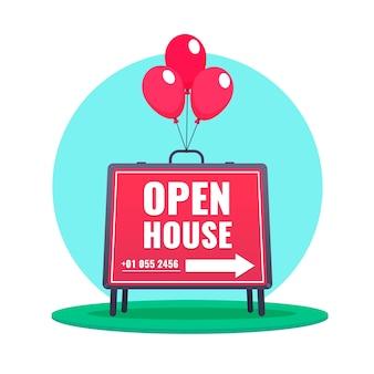 Casa abierta cartel rojo con detalles