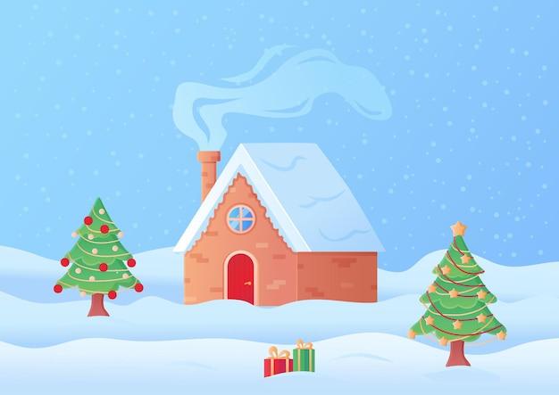 Casa acogedora del paisaje navideño en la nieve con chimenea ahumada en estilo de dibujos animados