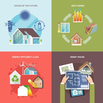 Casa de ahorro de energía plana