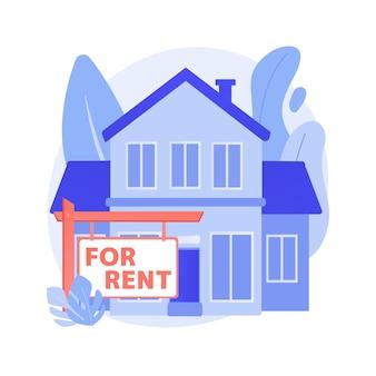 Casa en alquiler concepto abstracto ilustración vectorial. reserva de casa en línea, mejor propiedad de alquiler, servicio inmobiliario, mercado de alojamiento, listado de alquiler, metáfora abstracta de alquiler mensual.