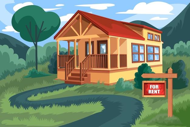 Casa en alquiler ilustración