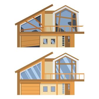 Casa antes y después de la reparación.