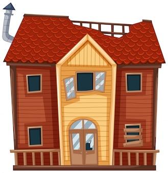 Casa antigua en color rojo