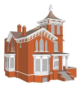 Casa antigua de estilo victoriano. ilustración sobre fondo blanco. especies de diferentes lados.