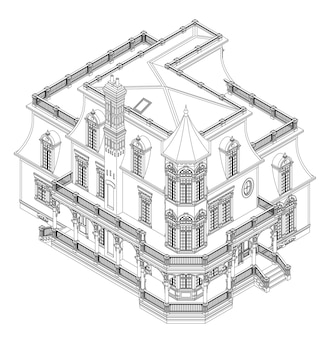 Casa antigua de estilo victoriano. ilustración sobre fondo blanco. ilustración en blanco y negro en líneas de contorno. especies de diferentes lados.