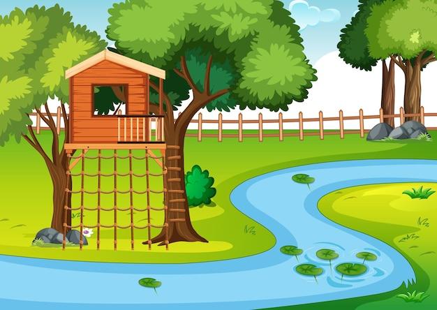 Casa del árbol en la escena del parque.