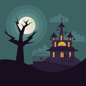 Casa y árbol de halloween en la noche, vacaciones e ilustración de miedo