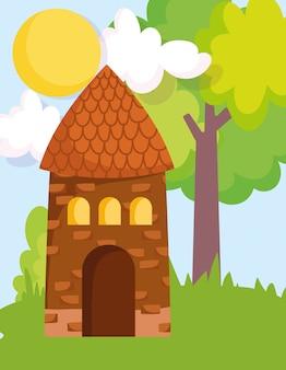 Casa árbol hierba sol nubes granja cartoon ilustración