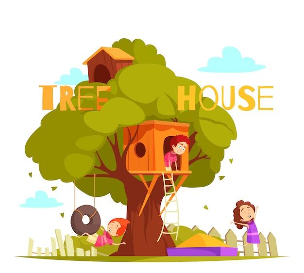 Casa del árbol entre ilustración de follaje verde