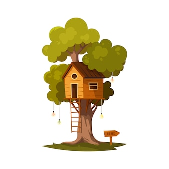 Casa del árbol para jugar y fiestas.