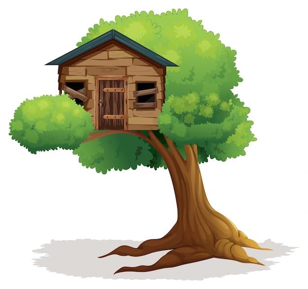 Casa del árbol de madera en el árbol