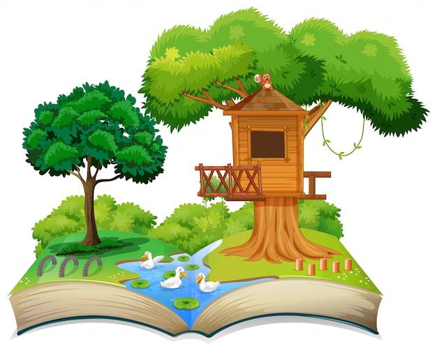 Casa del árbol de la naturaleza en libro abierto