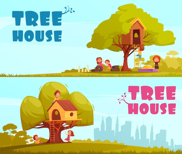 Casa del árbol con niños en la ilustración de fondo de cielo azul