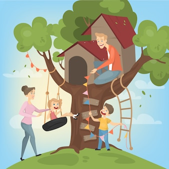 Casa del árbol para niños. los padres construyen y juegan.