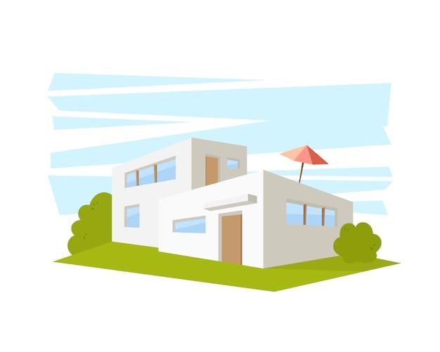 Casa de arquitectura moderna de estilo plano con césped verde. dibujo en la vista en perspectiva.