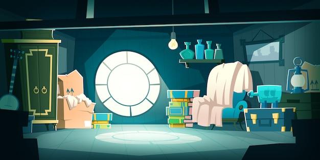 Casa ático con muebles antiguos en la noche, dibujos animados