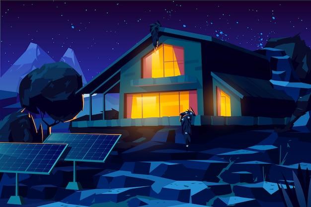 Casa autónoma con paneles solares de dibujos animados