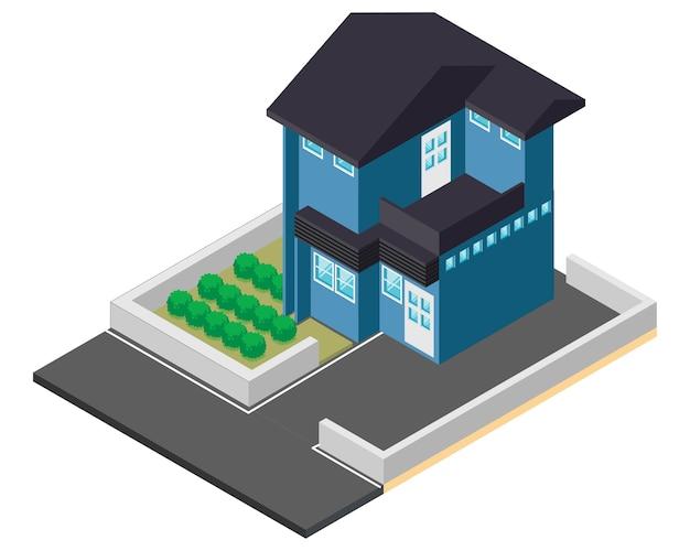 Casa azul isométrica, ilustración vectorial