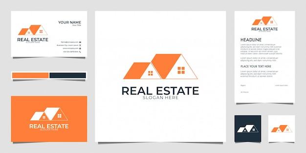 Casa de bienes raíces con tarjeta de visita y membrete de diseño de logotipo de estilo de arte lineal
