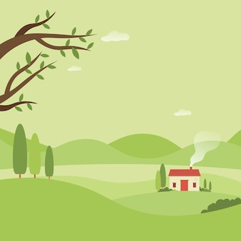 Casa en el bosque hermoso paisaje naturaleza fondo