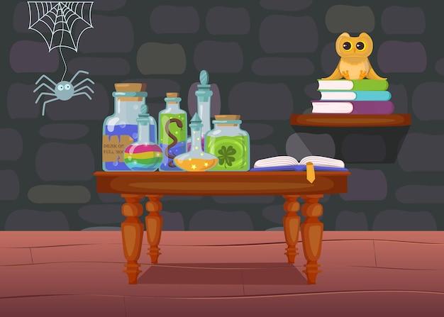 Casa de brujas con poción en botellas, libro sobre mesa. interior de una casa espeluznante con araña y búho.
