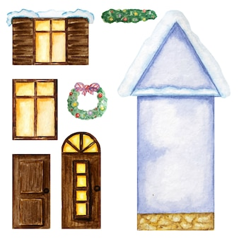 Casa bue de dibujos animados, ventanas de madera oscura, puertas, constructor de adornos navideños sobre fondo blanco.
