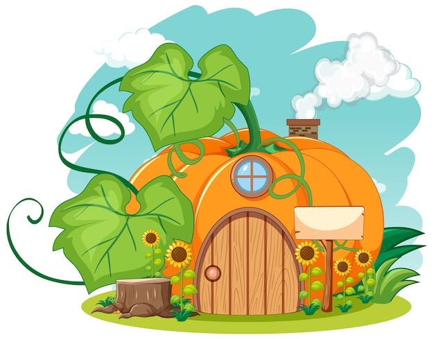 Casa de calabaza con estilo de dibujos animados de girasol sobre fondo de cielo