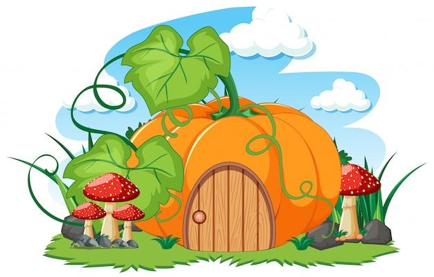 Casa de calabaza y un estilo de dibujos animados de hongos sobre fondo blanco.