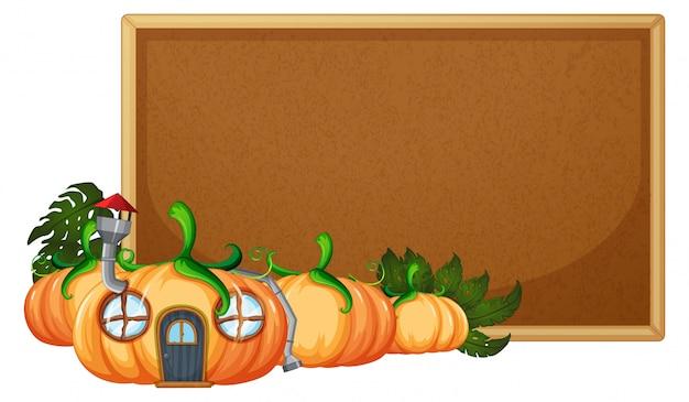 Casa de calabaza en plantilla de panel de corcho