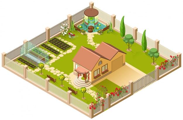 Casa de campo y amplio jardín con pérgola, invernadero y flores. ilustración isométrica 3d