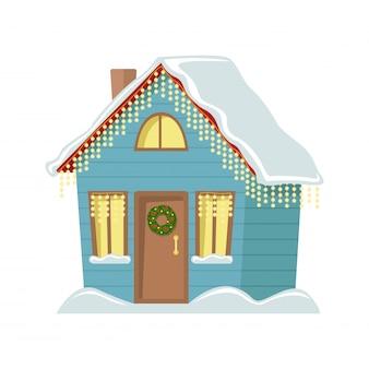 Casa de campo decorada con guirnaldas de navidad. ilustración plana casa de navidad