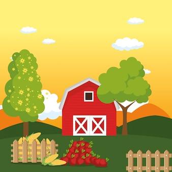 Casa de campo en la escena de la granja