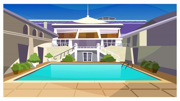 Casa de campo con ilustración de piscina.