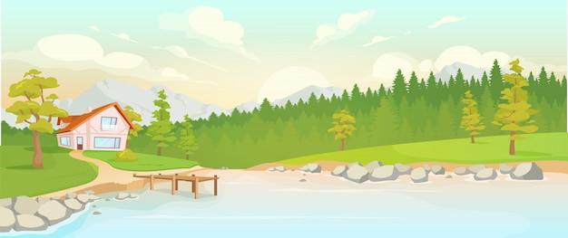 Casa de campo junto a la ilustración de color del río