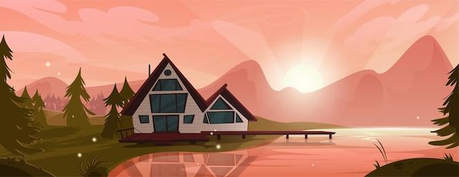 Casa de campo en el lago de montaña en el bosque