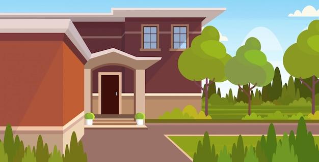 Casa de campo moderna exterior villa contemporánea edificio diseño plano horizontal ilustración