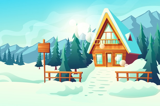 Casa de campo o pueblo casa de campo en dibujos animados de montañas nevadas
