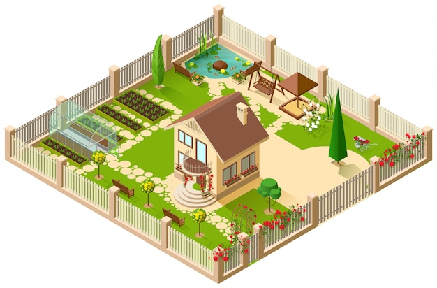 Casa de campo privada y jardín. ilustración isométrica 3d