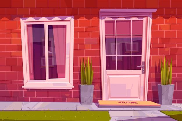 Casa de campo vista frontal de la fachada
