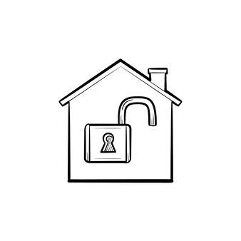 Casa con candado abierto dentro de contorno dibujado a mano doodle icono. bloqueo, protección del hogar, seguridad, concepto de finca
