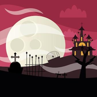 Casa y cementerio de halloween en la noche, vacaciones e ilustración de miedo