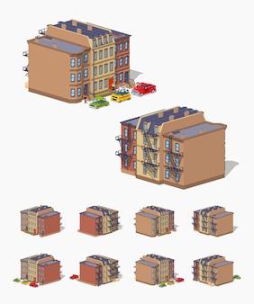Casa de ciudad isométrica de piedra baja isométrica en 3d