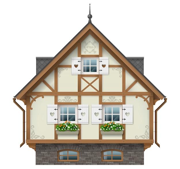 Casa clásica de entramado de madera.