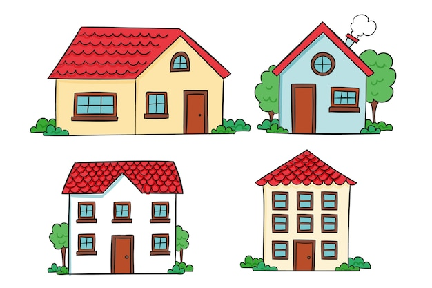Casa colección diseño dibujado a mano