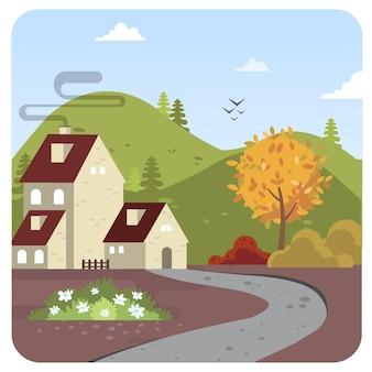 Casa colinas ilustración paisaje fondo cielo azul