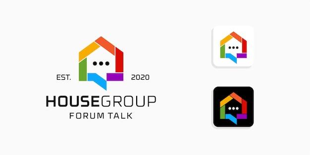 Casa colorida con plantilla de inspiración de diseño de logotipo de chat
