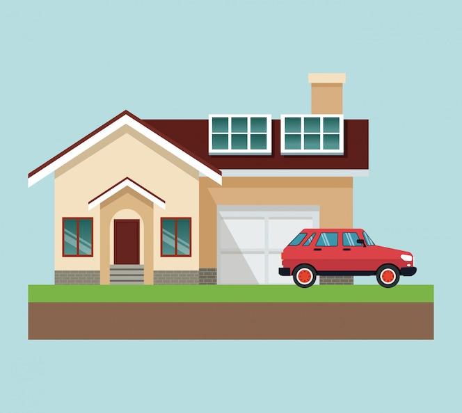 Casa con el coche en diseño gráfico de la tierra del vector