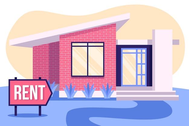 Casa en concepto de alquiler con cartel.